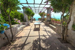 Pergola on the terrace. Royalty Free Stock Photography