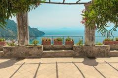 Pergola on the terrace. Mediterranean Sea. Royalty Free Stock Photos