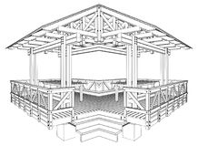 Pergola Vector 03. Wooden Pergola Isolated Illustration Vector Royalty Free Stock Images