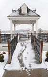 Pergola in Winter Snowfall Stock Image