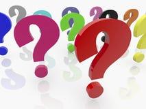 A pergunta assina dentro várias cores no branco Fotos de Stock Royalty Free