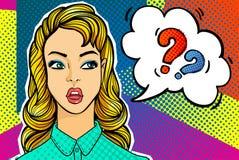 A pergunta canta Cara da mulher no estilo do pop art Fotos de Stock Royalty Free