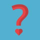 Pergunta com ponto coração-dado forma Fotos de Stock