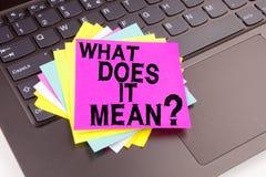 A pergunta conceptual da inspiração do subtítulo do texto da escrita da mão mostrando o que ele significa Conceito do negócio par Imagem de Stock