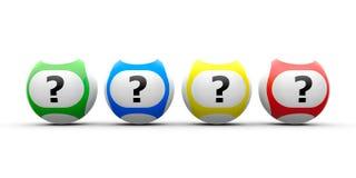 Pergunta das bolas da loteria Foto de Stock Royalty Free
