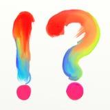 Pergunta do arco-íris e marcas de exclamação Imagem de Stock Royalty Free