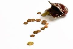Pergunta do dinheiro imagem de stock