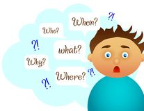 Pergunta do menino Estudo amável Foto de Stock
