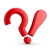 Pergunta e exclamação do sinal no branco Foto de Stock