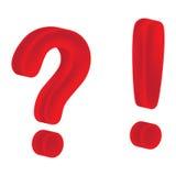 Pergunta e marca de exclamação (malha vermelha) Fotografia de Stock Royalty Free