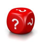 Pergunta Mark Red Dice Foto de Stock Royalty Free