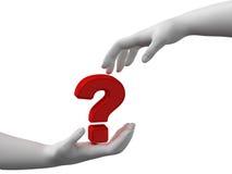 Pergunta nas mãos Fotos de Stock Royalty Free
