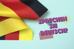 Pergunta você fala o alemão? no alemão Imagens de Stock Royalty Free