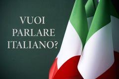Pergunta você quer falar o italiano, no italiano ilustração stock