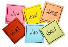 Perguntas da sessão de reflexão ou da tomada de decisão em notas pegajosas Imagem de Stock
