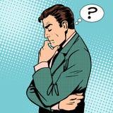Perguntas de pensamento do homem de negócios Fotos de Stock Royalty Free