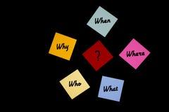 Perguntas de W em notas coloridas, fundo preto 3 imagens de stock
