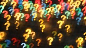 Perguntas demais Textura abstrata do fundo das luzes sob a forma dos pontos de interrogação filme