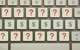 Perguntas do dinheiro Fotografia de Stock