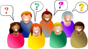 Perguntas do grupo ilustração stock