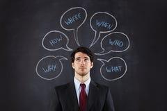 Perguntas do homem de negócios Foto de Stock