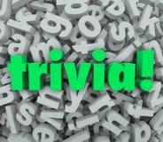 Perguntas do jogo do questionário do fundo da letra da palavra 3D da trivialidade Imagens de Stock
