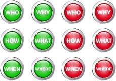 Perguntas dos botões Fotografia de Stock Royalty Free