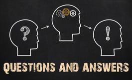 Perguntas e resposta - conceito do negócio no quadro foto de stock