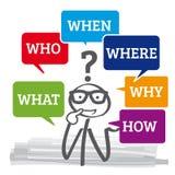 Perguntas - quem, porque, como, que, onde, quando ilustração stock