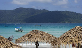 Perhentian Island Beach. A view from resort. Crystal clear sea water and very beatiful scene stock image