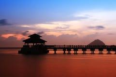 perhentian solnedgång för ö Arkivfoton
