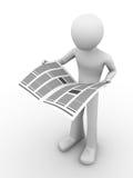 Periódico 2 de la lectura del hombre stock de ilustración