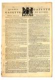 Periódico canadiense temprano. Fotografía de archivo libre de regalías