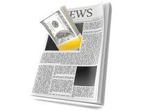 Periódico con el dinero stock de ilustración