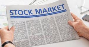 Periódico con el mercado de acción del título Imágenes de archivo libres de regalías
