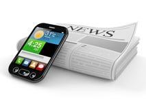 Periódico con el teléfono elegante Fotos de archivo