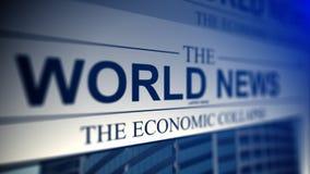 Periódico con títulos de las noticias de mundo Imagen de archivo libre de regalías