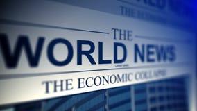 Periódico con títulos de las noticias de mundo stock de ilustración