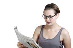 Periódico de la lectura Imagen de archivo libre de regalías