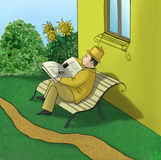 Periódico de la lectura del hombre stock de ilustración
