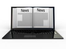 Periódico de negocios en el ordenador portátil stock de ilustración