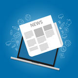 Periódico del icono de las noticias en icono en línea de la pantalla del ordenador portátil stock de ilustración