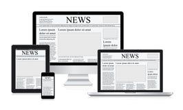 Periódico en línea de la tableta del ordenador del concepto del ejemplo del vector de las noticias Imágenes de archivo libres de regalías