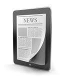 Periódico en la PC de la tablilla. Dispositivo móvil 3D Foto de archivo