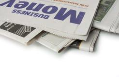 Periódico - las paginaciones del dinero imagen de archivo libre de regalías