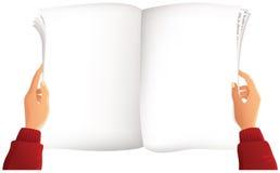 Periódico más algunas manos Ilustración del Vector