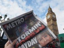 Periódico que muestra a Jeremy Corbyn en Londres fotografía de archivo libre de regalías