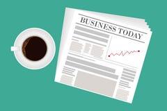 Periódico, taza de té, papel en blanco y pluma con la calculadora libre illustration