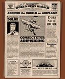 Periódico viejo, plantilla del vector del papel prensa del vintage Foto de archivo libre de regalías