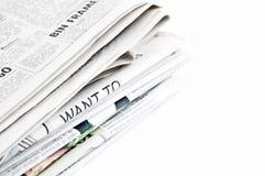 Periódicos aislados Fotos de archivo libres de regalías